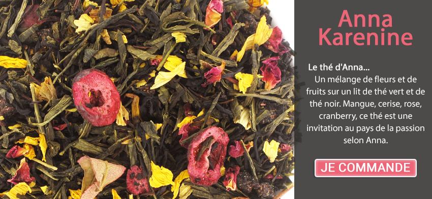 Le thé d'Anna... Un mélange de fleurs et de fruits sur un lit de thé vert et de thé noir. Mangue, cerise, rose, cranberry, ce thé est une invitation au pays de la passion selon Anna.